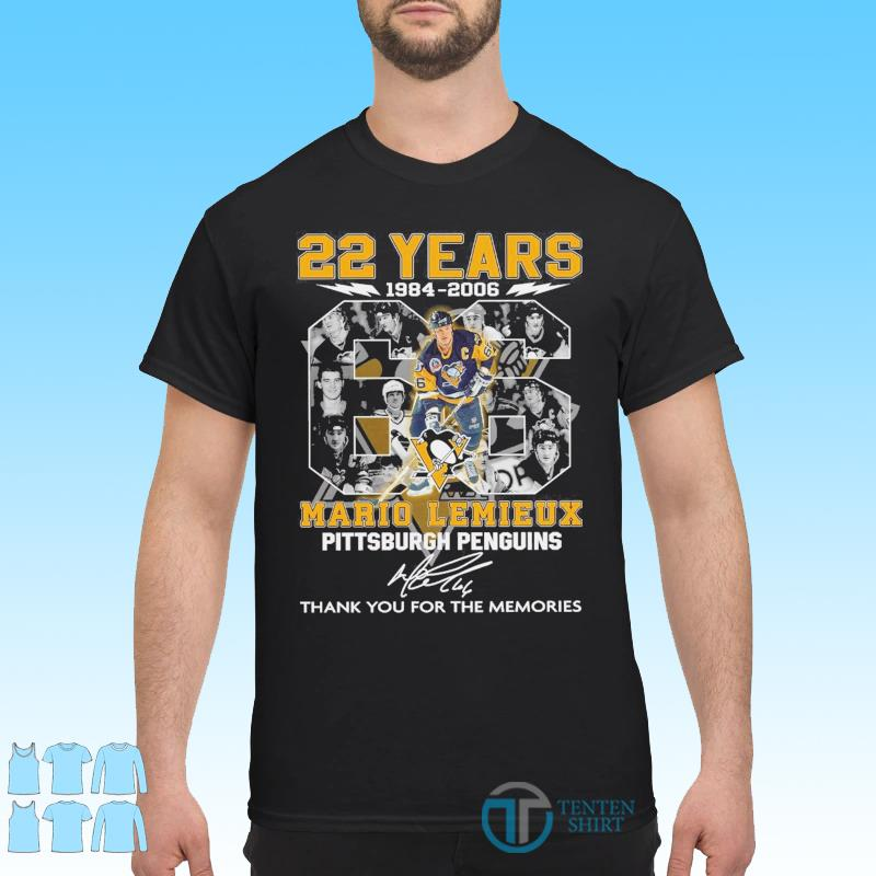 22 Years 1984 2006 The Mario Lemieux Pittsburgh Penguin Signature Thank You For The Memories Shirt
