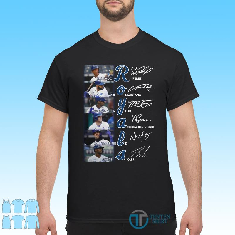 Official Kansas City Royals Team Baseball Signatures Shirt