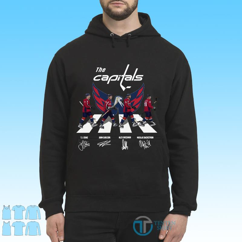 Official The Washington Capitals With Oshie Carlson Ovechkin And Backstrom Abbey Road Signatures Shirt Hoodie