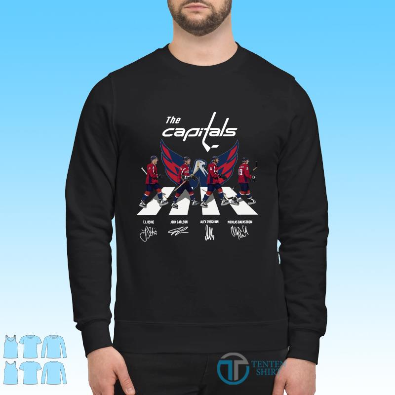 Official The Washington Capitals With Oshie Carlson Ovechkin And Backstrom Abbey Road Signatures Shirt Sweater