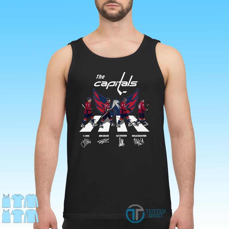 Official The Washington Capitals With Oshie Carlson Ovechkin And Backstrom Abbey Road Signatures Shirt Tank top